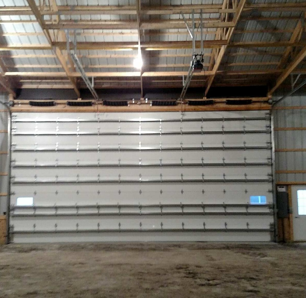 rolled doors of a warehouse